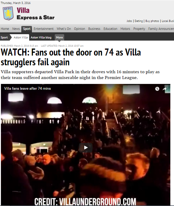 Express and star aston villa fan protests lerner villa park