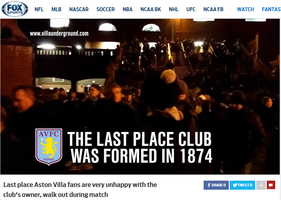 Fox Sports Villa underground aston villa randy lerner protests