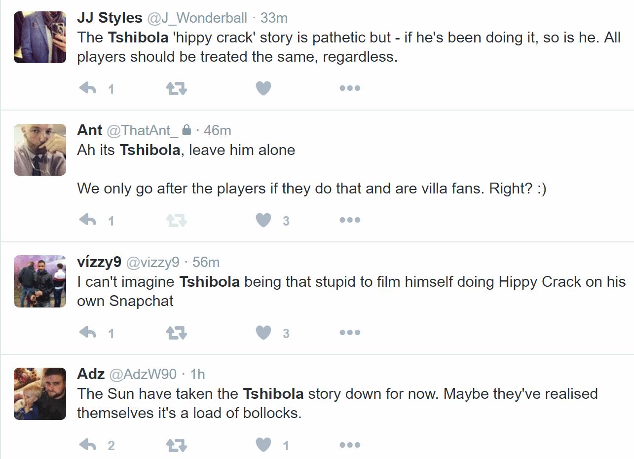 villa fans twitter tshibola sun story