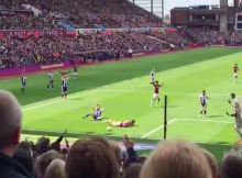 Jack Grealish fouled by Kieran Gibbs - Aston Villa 2-1 WBA